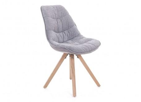 Chaise matelassée gris clair en tissu - L 50 cm