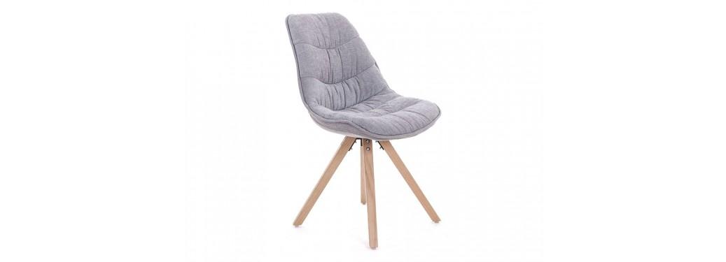 Chaise scandinave Larson - Tissu panama matelassé gris clair