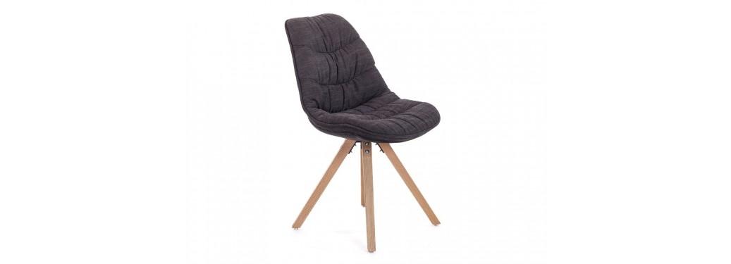 Chaise scandinave Larson - Tissu panama matelassé noir