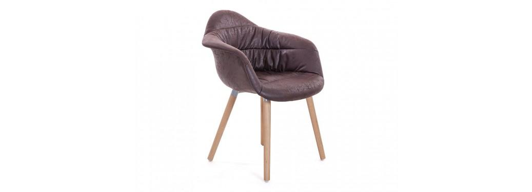 Chaise scandinave Mankel - Tissu vintage marron
