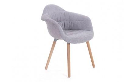 Chaise marron avec accoudoirs en tissu vintage - L62 cm