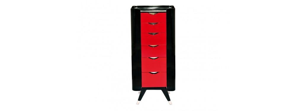 Chiffonnier Shanghai finition laqué rouge et noir - 2 portes latérales et 6 tiroirs