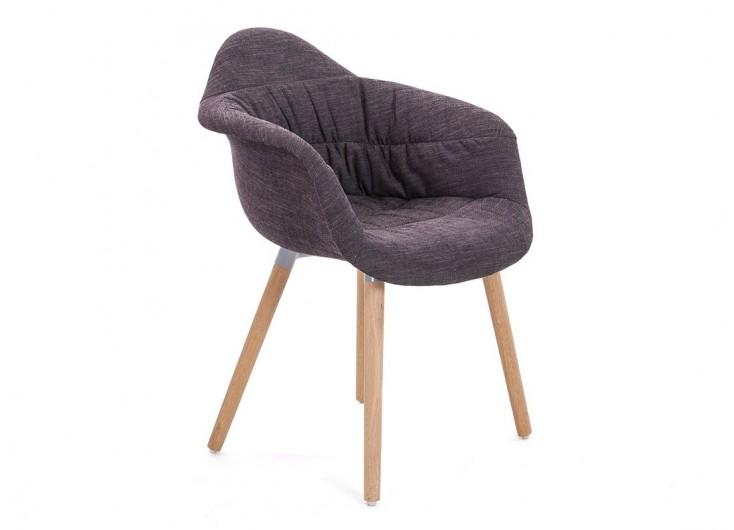 Chaise avec accoudoirs en tissu panama noir - L62 cm