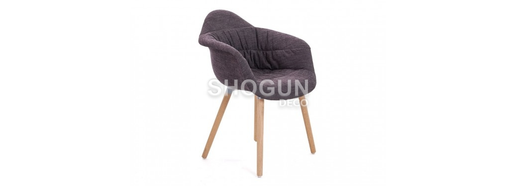 Chaise scandinave Mankel - Tissu panama noir