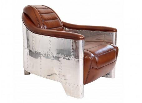 Fauteuil club GT40 cuir vintage matelassé et aluminium riveté