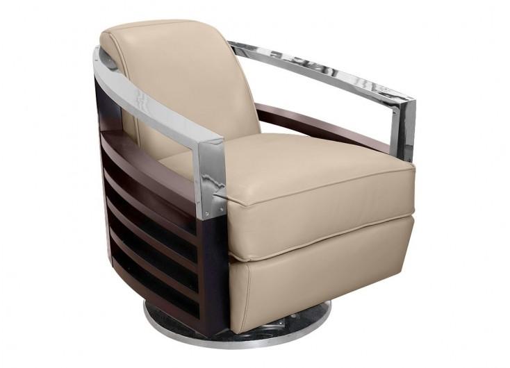 Madison streamline swing armchair in beige leather