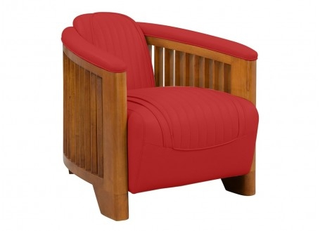Fauteuil club Ibiza cuir rouge
