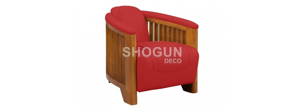 Fauteuil club Ibiza - Cuir rouge
