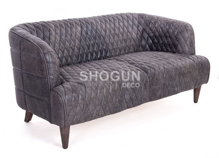 Canapé club Vouvali cuir noir ebony