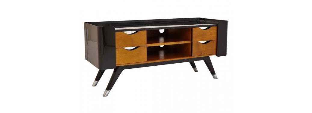Meuble TV Shanghai finition laqué noir et bois teinté - 2 portes latérales, 2 niches et 4 tiroirs
