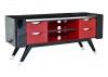 Meuble TV Shanghai design rétro noir et rouge laqué