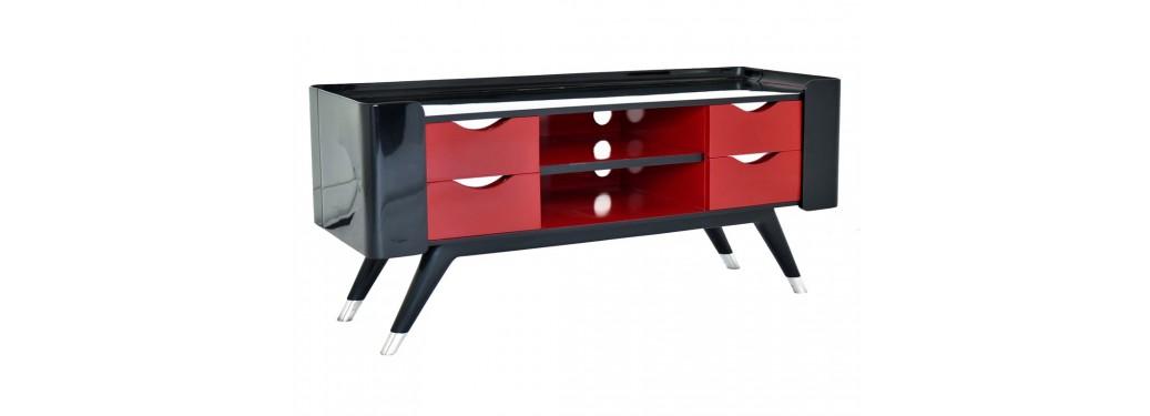 Meuble TV Shanghai - laqué noir & rouge