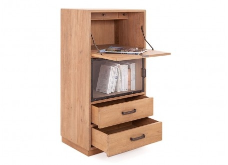 Bookcase Eiffel with secretary, natural finish, 1 door / 2 drawers