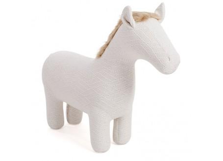 Pouf cheval blanc. Fil tricoté. 105 cm