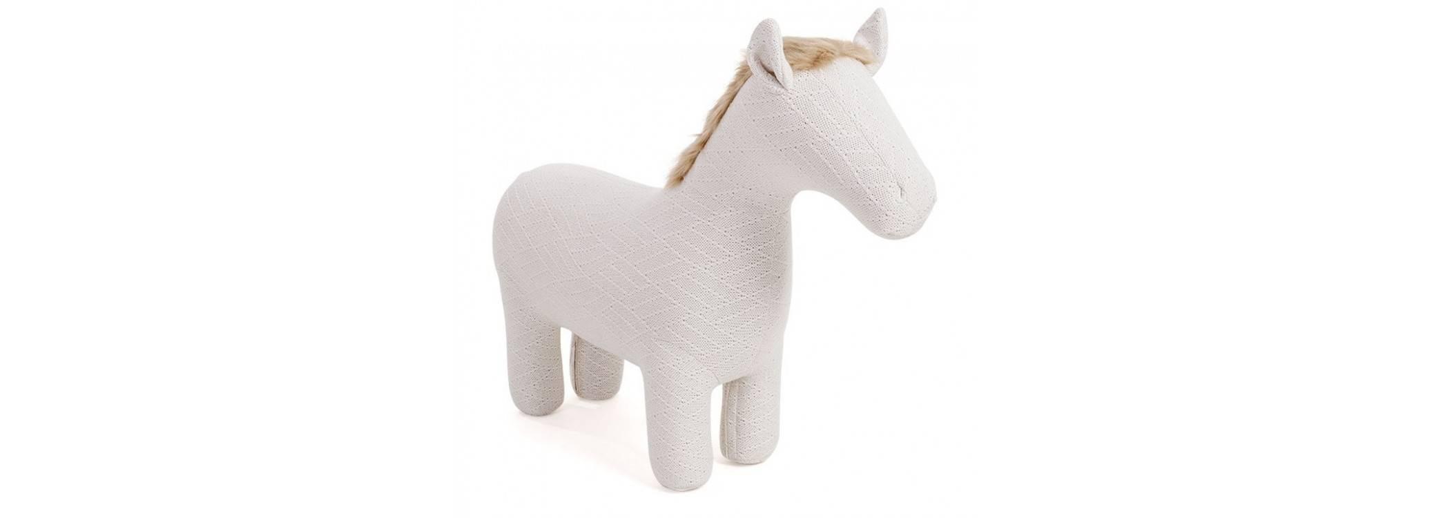 Pouf - tabouret cheval blanc. 105 cm