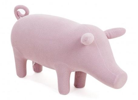 Pouf cochon rose. Fil de coton tricoté. 126 cm