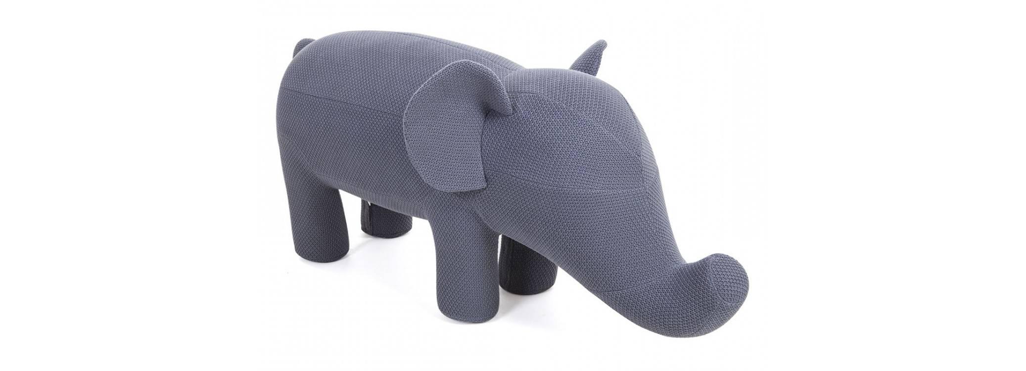 Pouf - tabouret éléphant gris. 118 cm