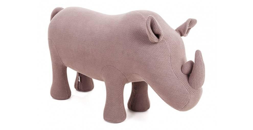 Pouf - tabouret rhinocéros marron. 116 cm