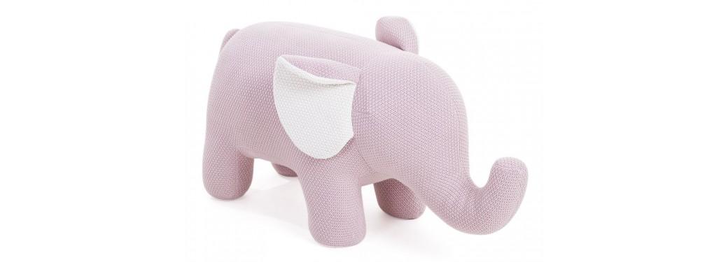 Pouf - tabouret éléphant rose bébé. 95 cm