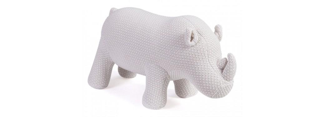 Mini rhinocéros blanc. 50 cm