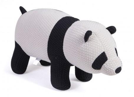 Pouf - banc panda Fil de coton tricoté. 105 cm