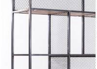 Bibliothèque graphique en métal alvéolé et bois - L 120 cm