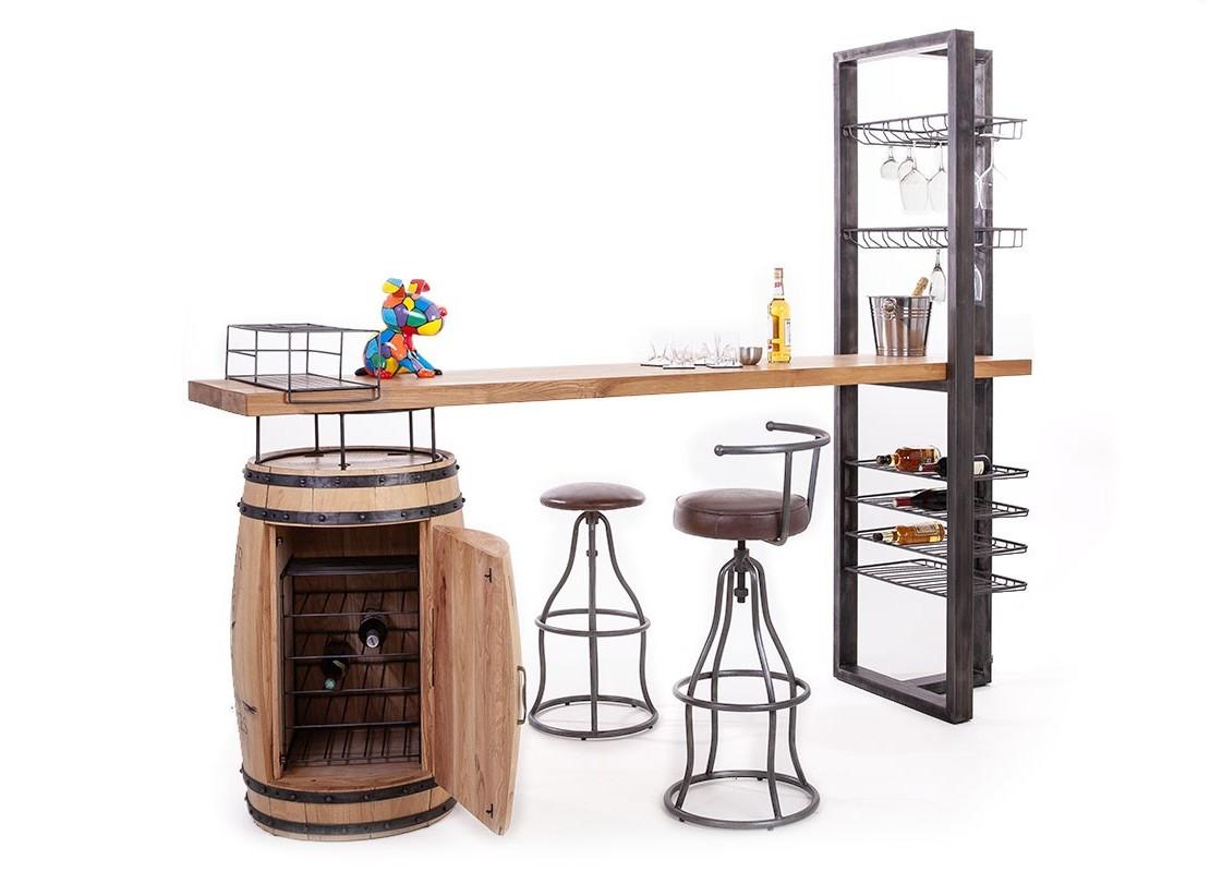 Deco Tonneau De Vin bar avec pied en tonneau à vin