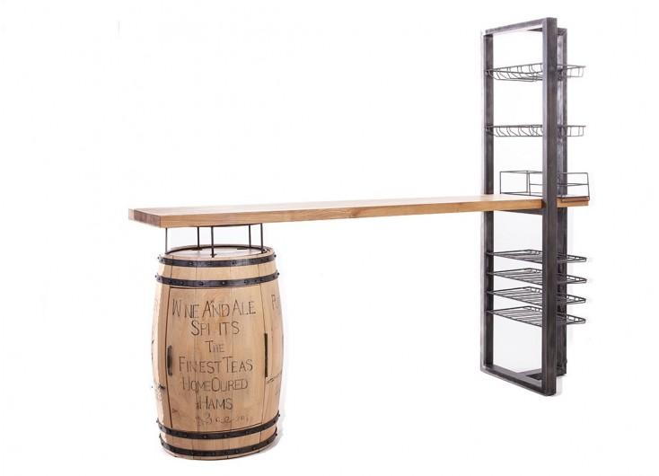 Bar avec pied tonneau à vin