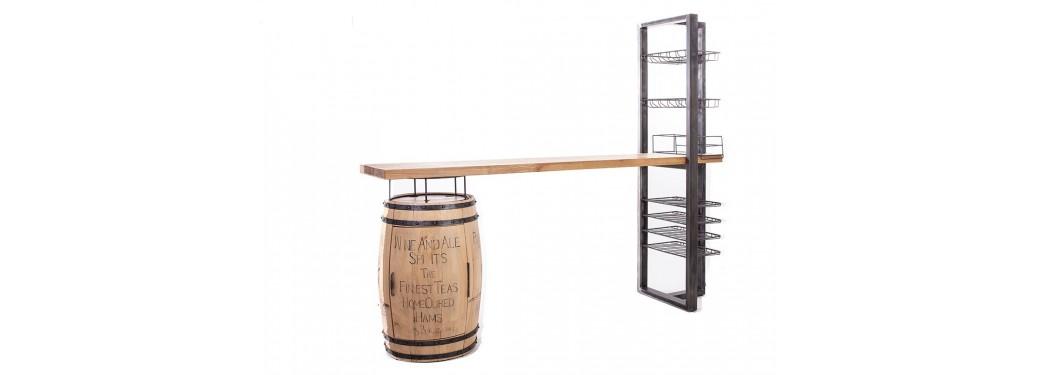 Meuble bar comptoir avec pied en tonneau à vin