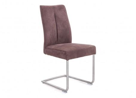 Chaise en suédine marron et acier brossé