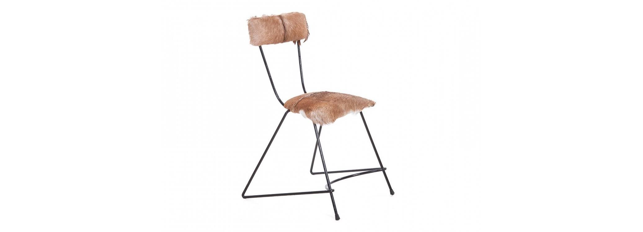 Chaise Trapèze fourrure - Métal et assise bois