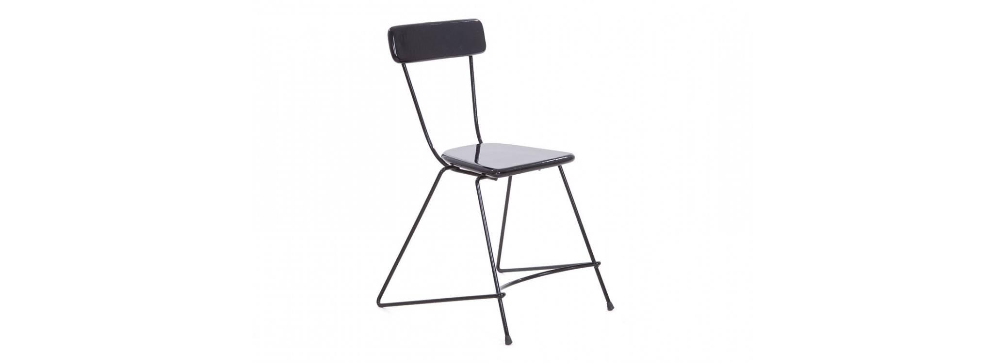 Chaise Trapèze noire - Métal et assise bois