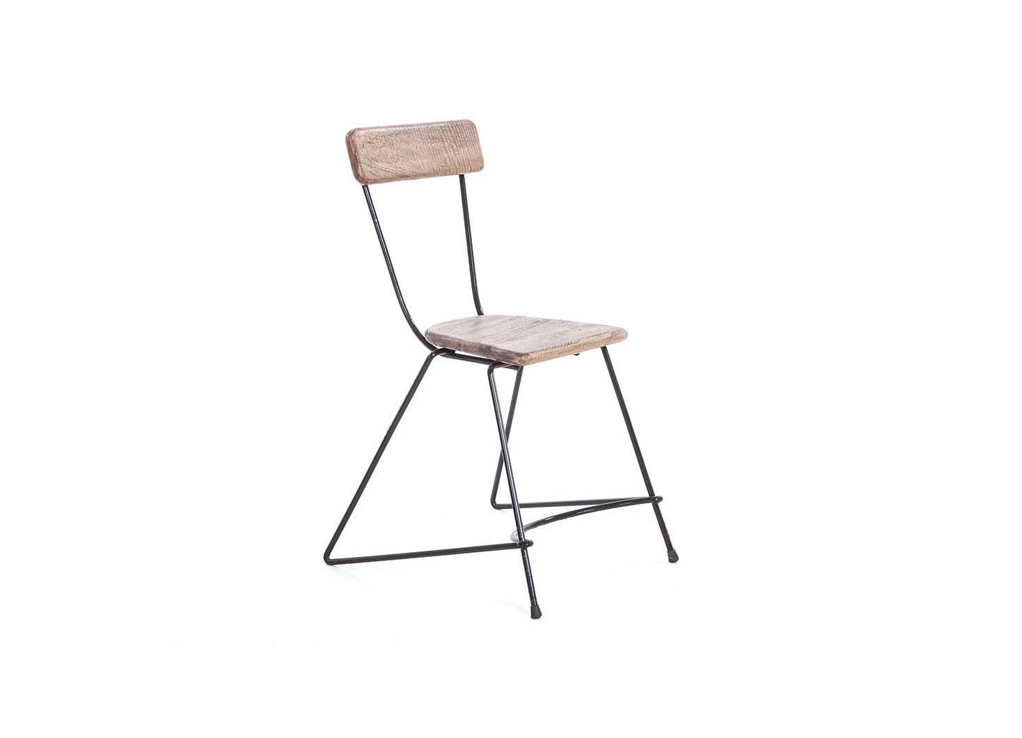 Chaise trapèze en métal et assise en bois de manguier brut