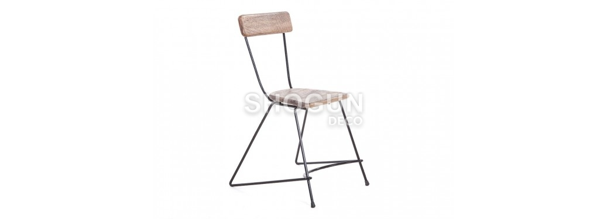 Chaise Trapèze brut - Métal et assise bois
