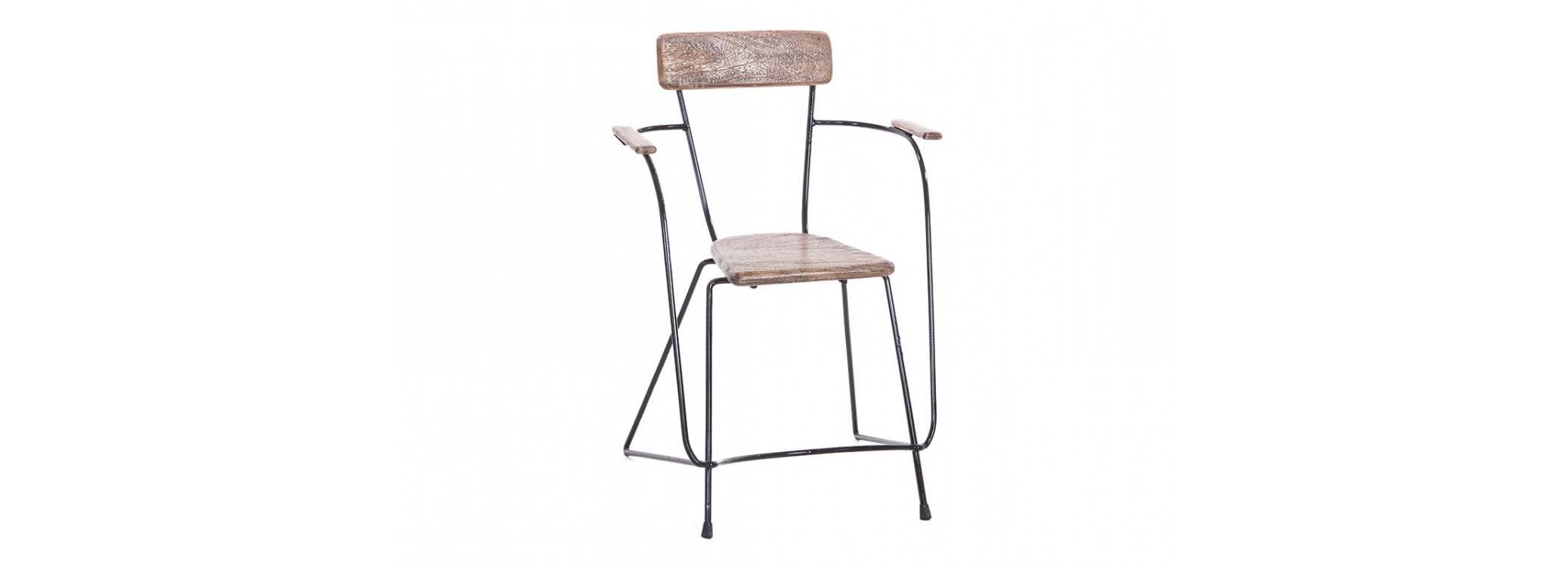 Chaise Trapèze brut avec accoudoirs - Métal et assise bois