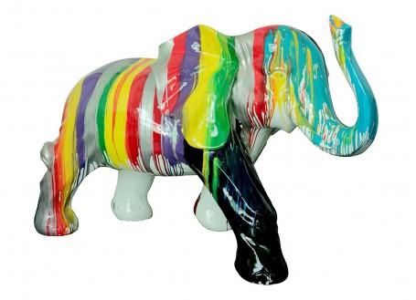 Grande statue Eléphant en résine. Effet peinture coulante -H111cm