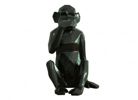 Statue singe de la sagesse Iwazaru, noir scintillant -H39cm