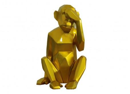 Statue singe de la sagesse Mizaru doré -H38cm