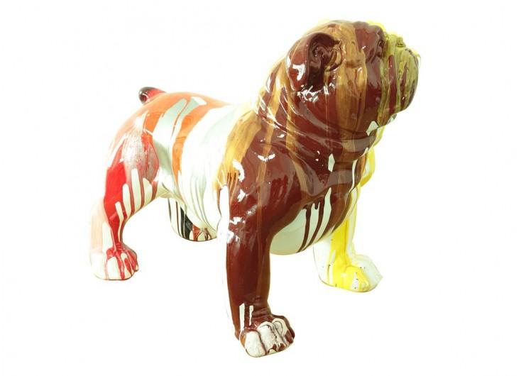 Statue Bulldog debout. Effet peinture coulante -H48cm