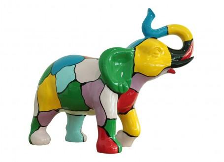 Statue Eléphant trompe levée. Patchwork de couleurs -H51cm
