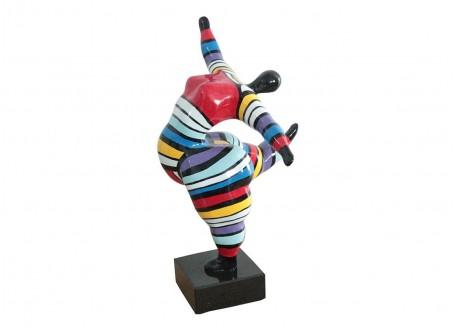 Statue femme ronde, danseuse. Motifs rayés -H32cm