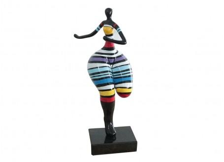 Statue Femme ronde, coureuse. Motifs rayés -H51cm