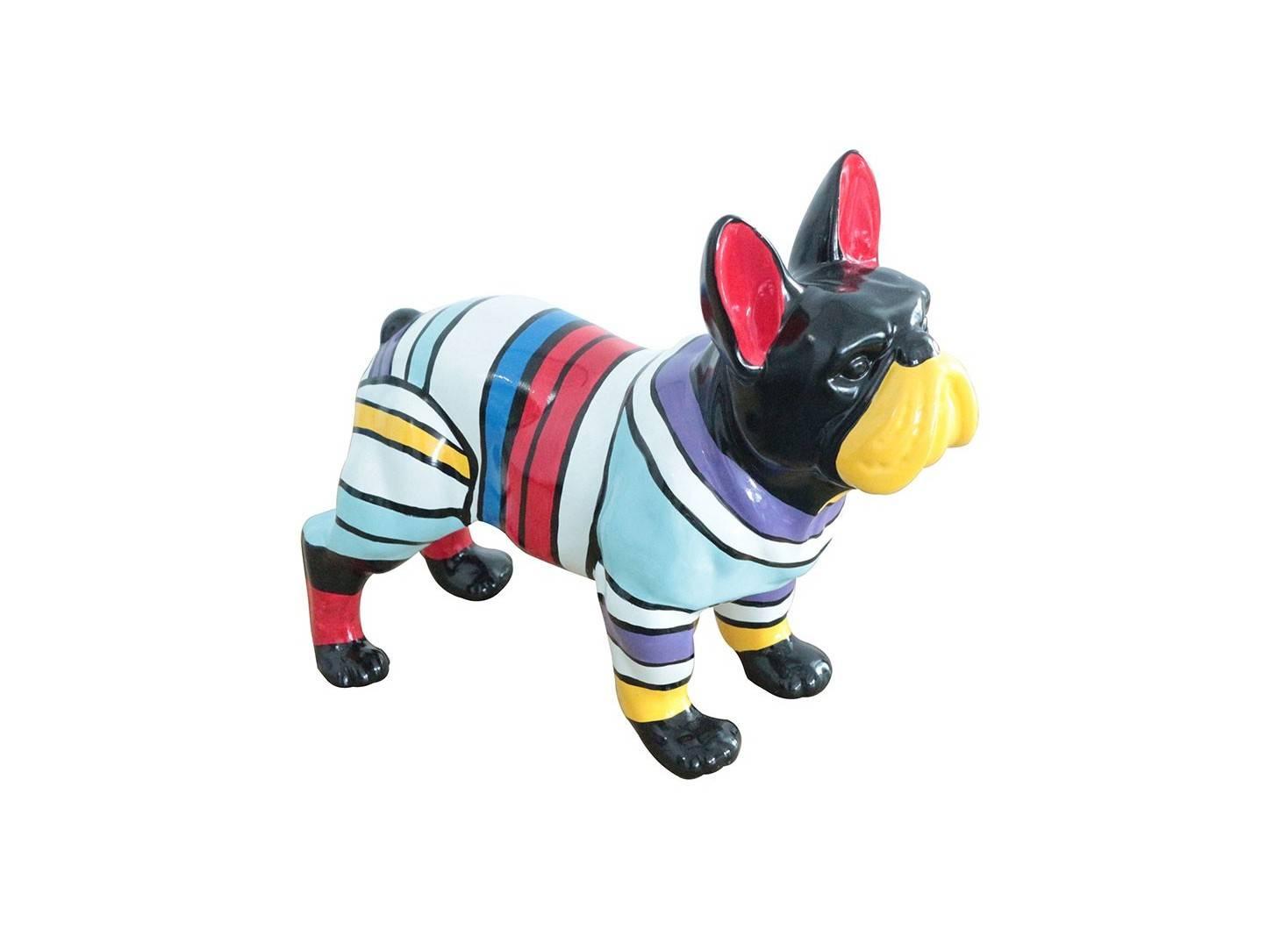 Statue Bulldog Français debout. Motifs rayés -H?cm
