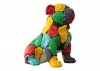 Statue Bulldog assis. Patchwork couleurs -H45cm