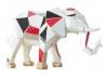 Moyenne statue en résine Eléphant trompe baissée motifs graphiques rouge et noir -H31cm