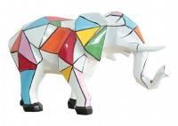 Statue Eléphant trompe baissée. Motifs graphiques multicolors -H31cm