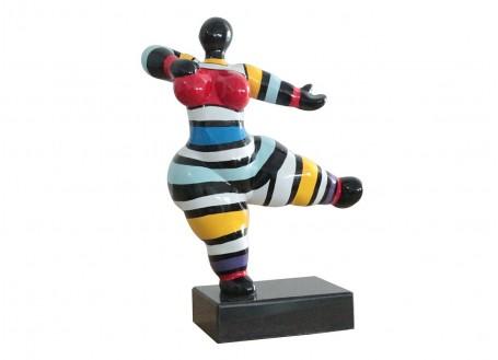 Statue Femme ronde, rayée, invitation à danser -H33cm