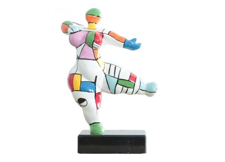 Statue Femme ronde, invitation à danser, motifs graphiques -H33cm