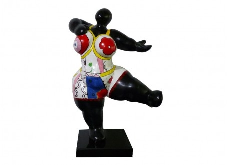 Statue femme ronde, invitation à danser, motifs fleuris -H54cm
