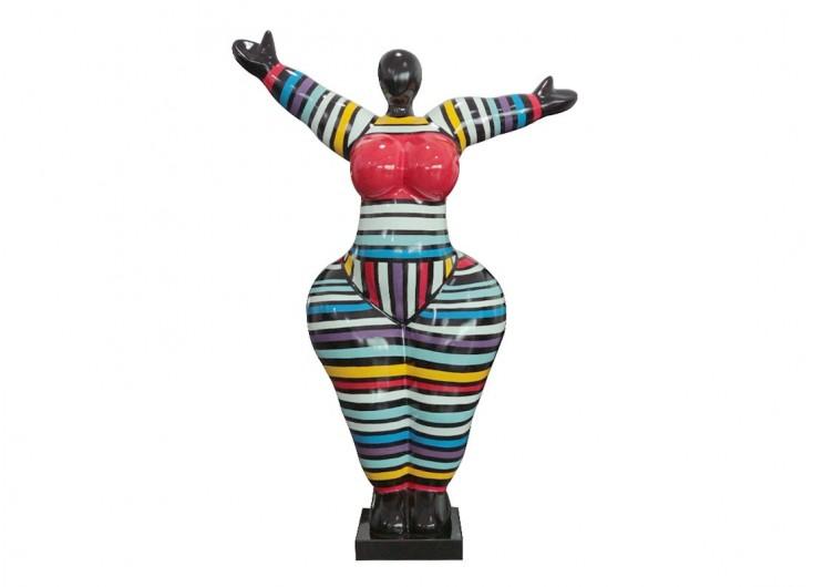 Grande statue Femme ronde, bras écartés. Motifs rayés-H129cm